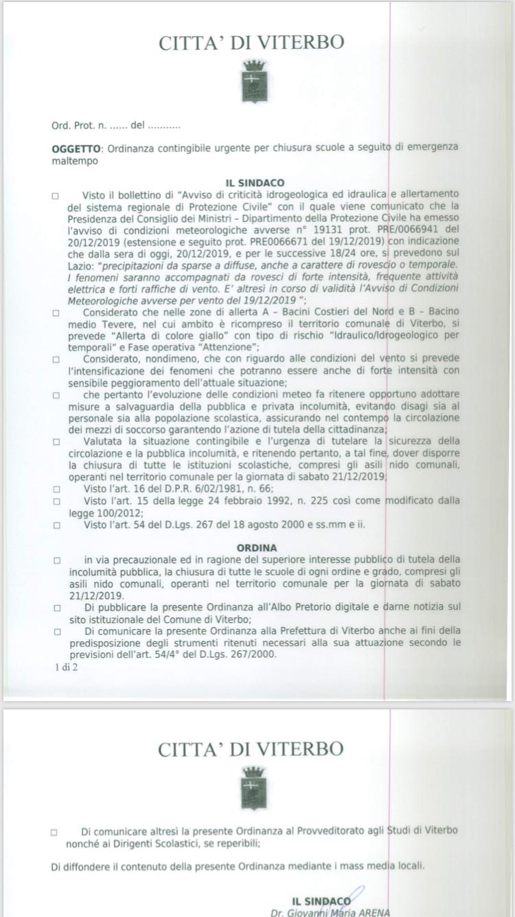 OGGI SABATO 21 DICEMBRE CHIUSE LE SCUOLE A VITERBO PER MALTEMPO