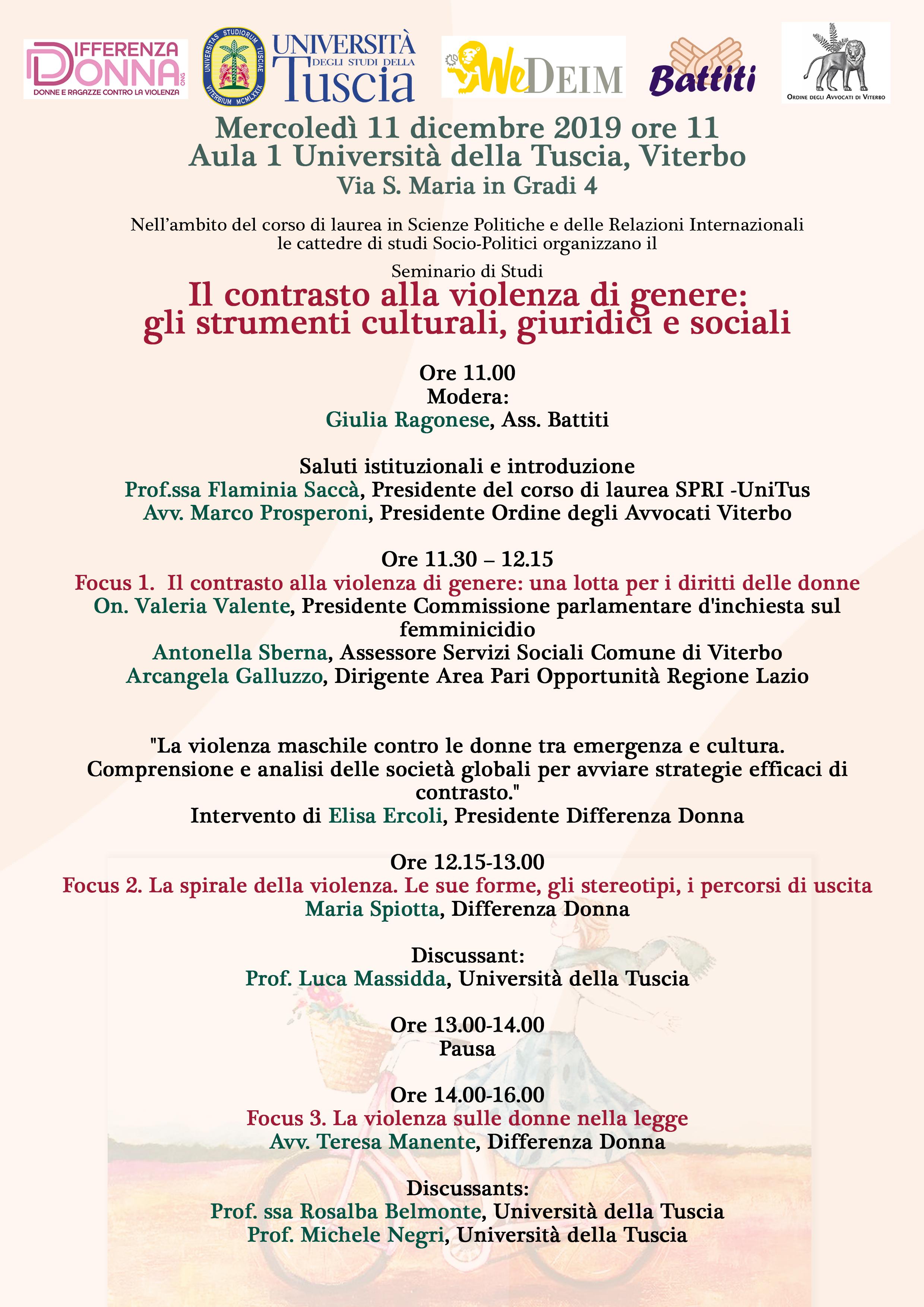 MERCOLEDI 11 DICEMBRE ALL'UNITUS IL CONVEGNO IL CONTRASTO ALLA VIOLENZA DI GENERE