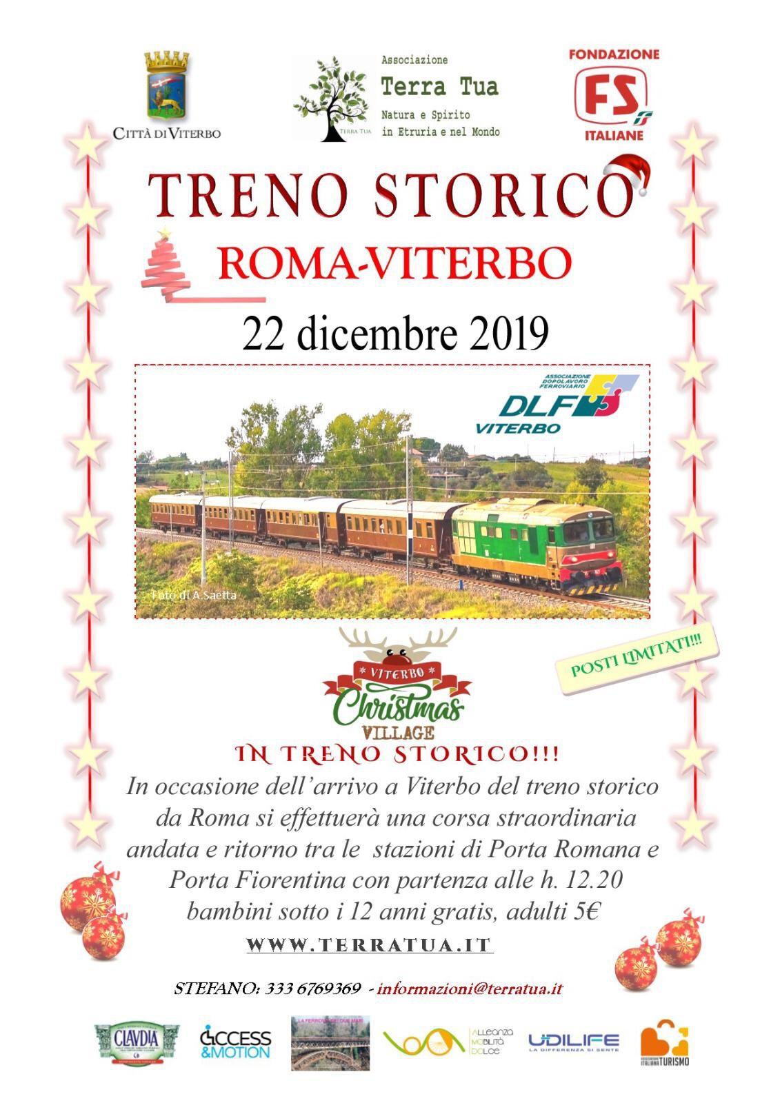 TRENO STORICO ROMA-VITERBO, IL 22 DICEMBRE CORSA STRAORDINARIA