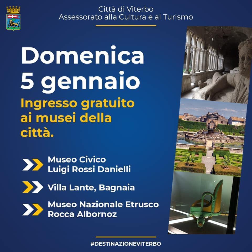 IL 5 GENNAIO INGRESSO GRATUITO AL MUSEO CIVICO, AL MUSEO NAZIONALE ETRUSCO E A VILLA LANTE