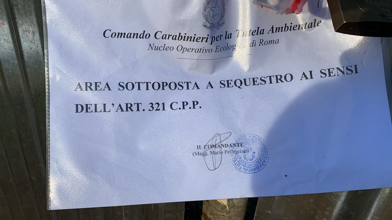 I CARABINIERI DEL NOE SEQUESTRANO AREA IN LOCALITA' COLLEVERDE