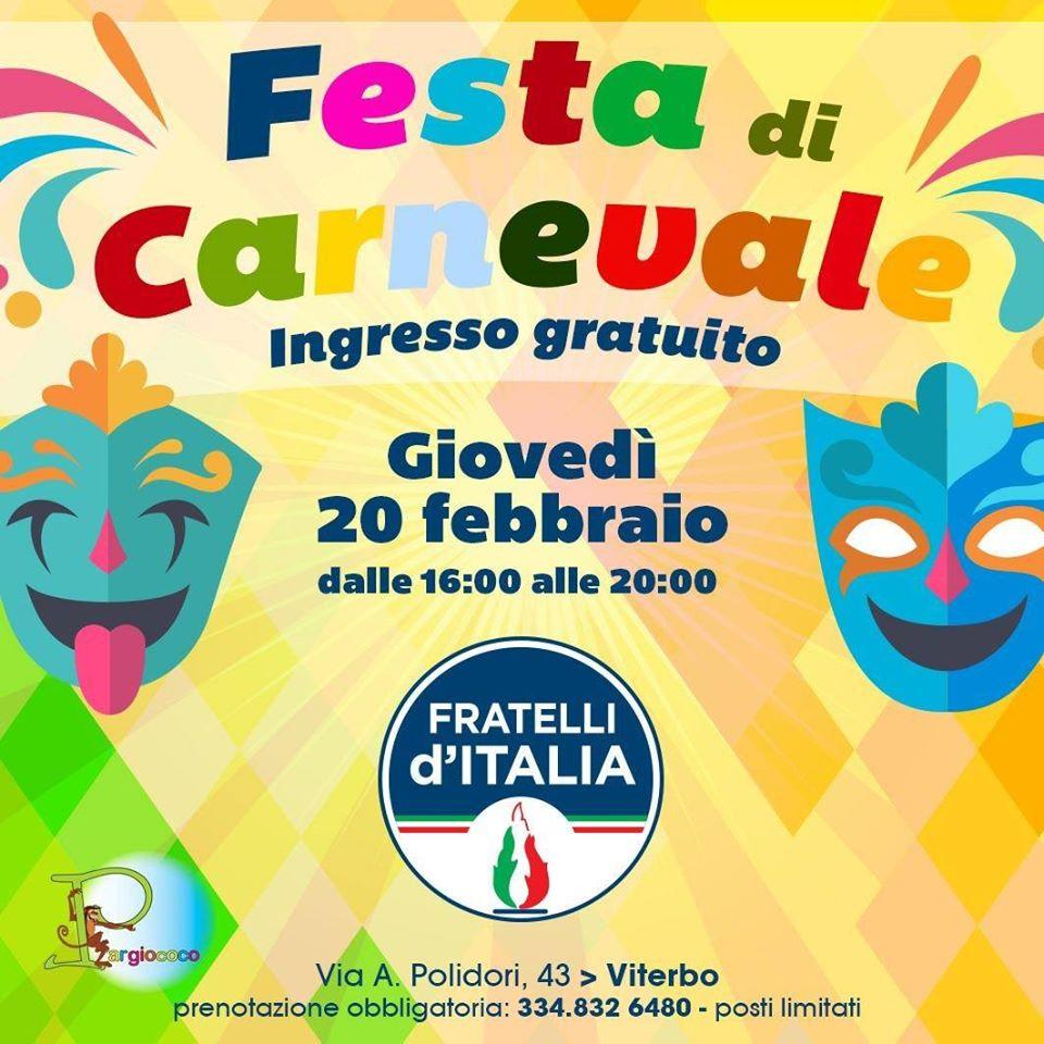 IL 20 FEBBRAIO TORNA LA FESTA DI CARNEVALE DI FRATELLI D'ITALIA