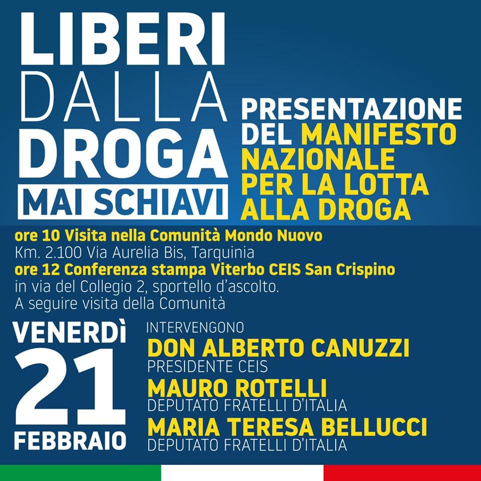 OGGI LA MANIFESTAZIONE DI FRATELLI D'ITALIA CONTRO LA DROGA