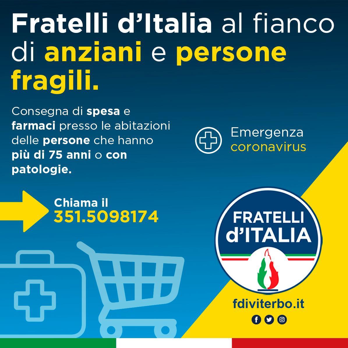 CORONAVIRUS, FRATELLI D'ITALIA ISTITUISCE NUMERO TELEFONICO PER GLI AIUTI