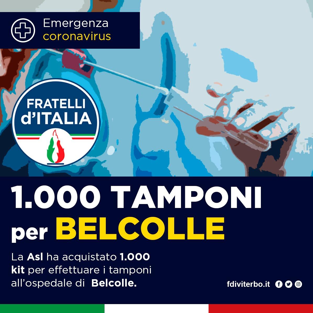 FRATELLI D'ITALIA VITERBO: FINALMENTE ANCHE A VITERBO TUTTI I TAMPONI AI SANITARI COME CHIESTO DA GIORNI