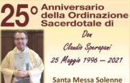 OGGI A SANTA BARBARA IL 25 ANNIVERSARIO DELL'ORDINAZIONE SACERDOTALE DI DON CLAUDIO SPERANDEI